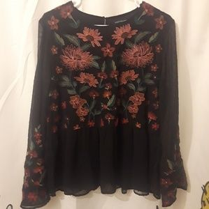 American Eagle embroidered bell sleeve peplum top